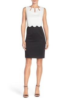 Ellen Tracy Piqué Scalloped Overlay Dress with Cutouts (Regular & Petite)