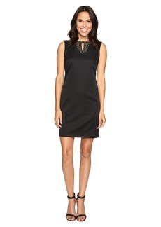 Ellen Tracy Pique Dress w/ Neckline Embellishment