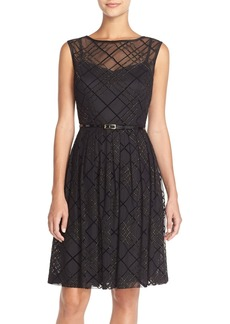 Ellen Tracy Plaid Mesh Fit & Flare Dress