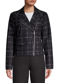 Ellen Tracy Plaid Moto Jacket
