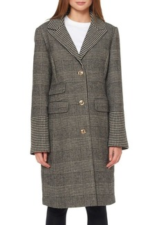 Ellen Tracy Plaid Notch-Collar Long Coat