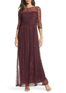 Ellen Tracy Pleat Waist Lace Gown