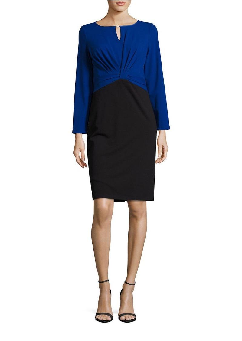 ELLEN TRACY Pleated Colorblock Dress