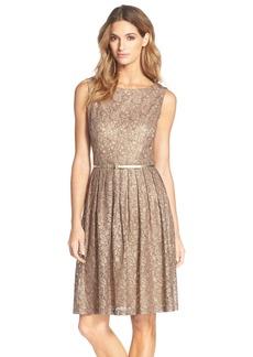 Ellen Tracy Pleated Lace Fit & Flare Dress (Regular & Petite)