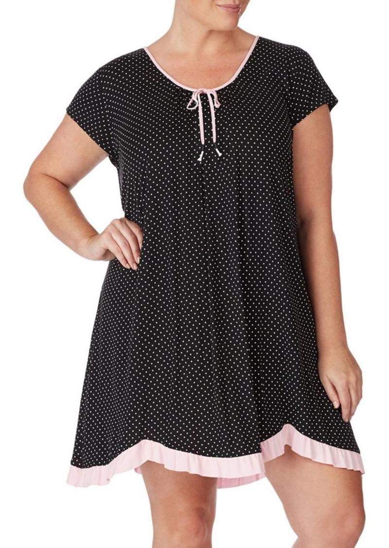 Ellen Tracy Plus Polka-Dot Short-Sleeve Chemise