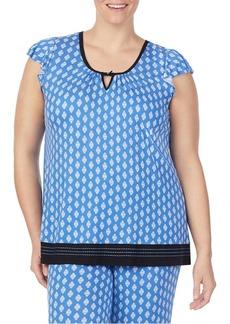 Ellen Tracy Plus Printed Flutter-Sleeve Pajama Top