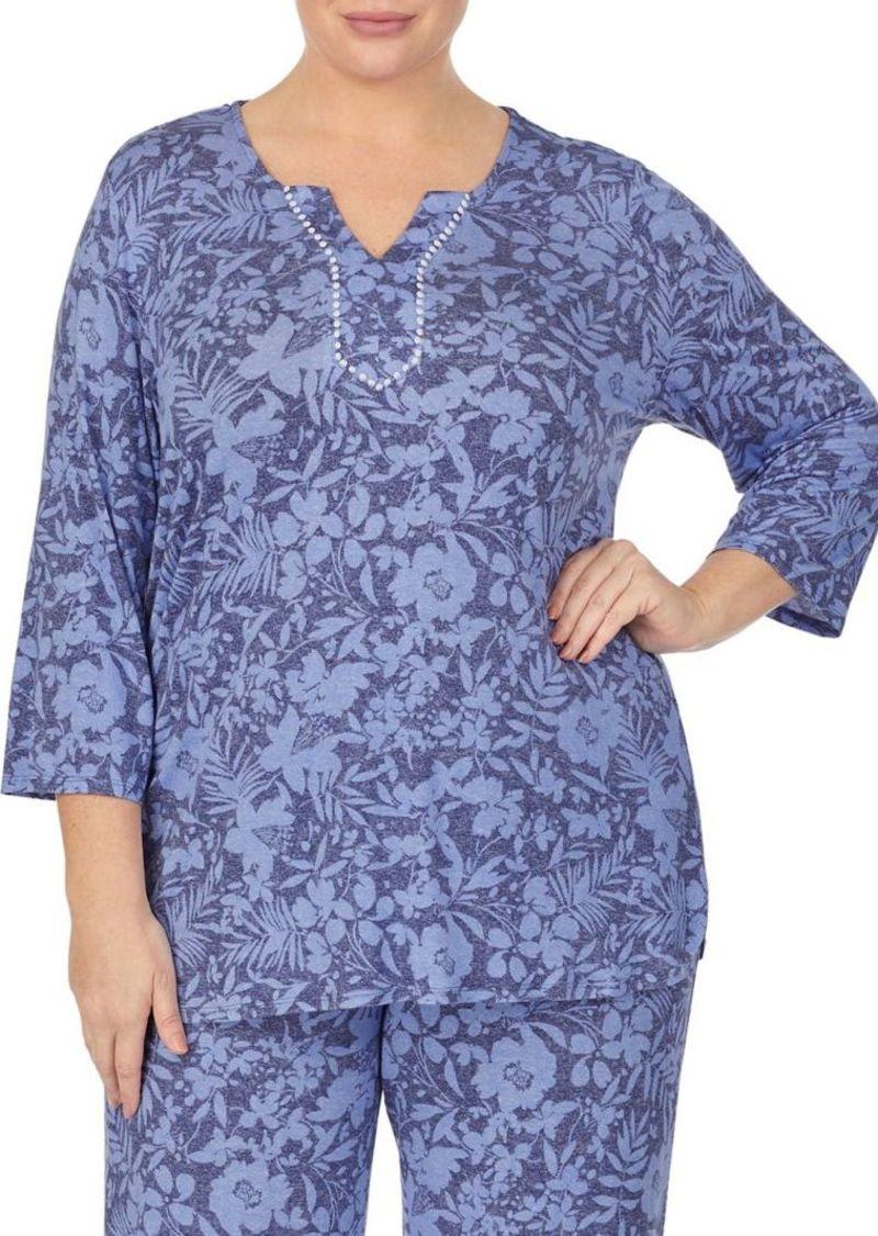 Ellen Tracy Plus Printed Pajama Top