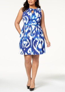 Ellen Tracy Plus Size Belted Printed Dress