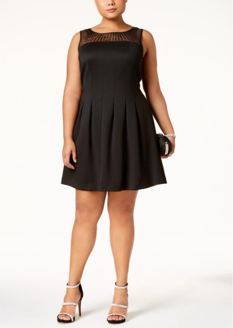0d202c485930c Ellen Tracy Ellen Tracy Plus Size Embellished Illusion Fit   Flare Dress