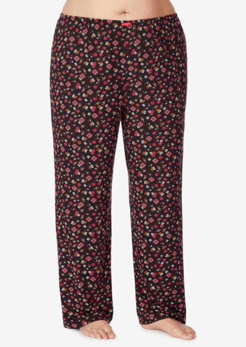 Ellen Tracy Plus Size Floral Knit Pajama Pant, Online Only