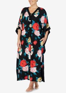 Ellen Tracy Plus Size Flower-Print Long Caftan