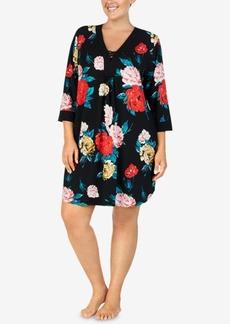 Ellen Tracy Plus Size Flower-Print Short Caftan