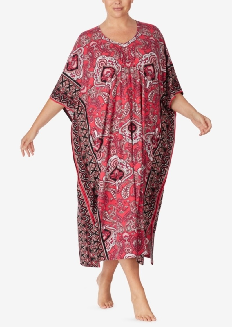 Ellen Tracy Plus Size Paisley Knit Caftan, Online Only