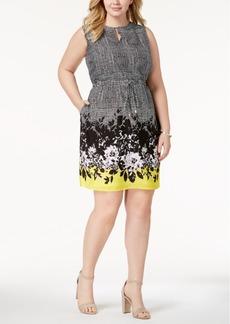Ellen Tracy Plus Size Printed Drawstring Dress