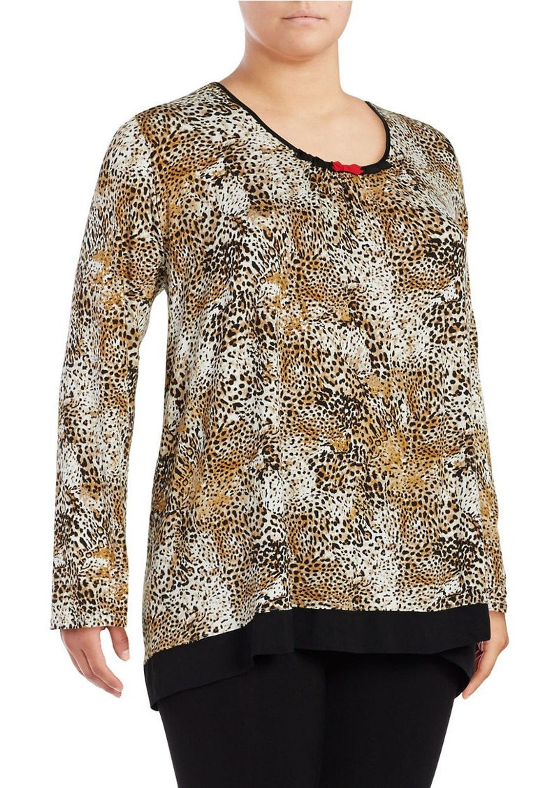 ELLEN TRACY Plus Size Printed Long-Sleeve Pajama Top