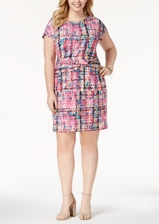 Ellen Tracy Plus Size Printed Twist Dress