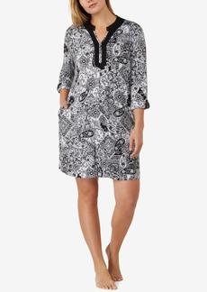 Ellen Tracy Plus Size Split-Neck Printed Knit Sleepshirt