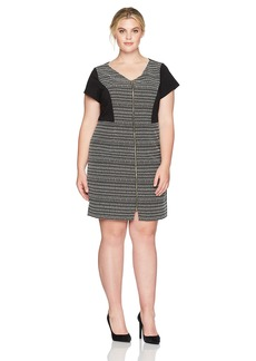 ELLEN TRACY Plus Size Womens Striped Tweed Black and White Dress  14W