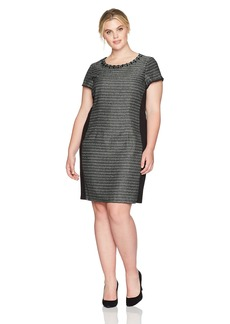 ELLEN TRACY Plus Size Womens Tweed Black and Ivory Dress