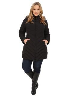 Ellen Tracy Plus Size Zip Front Walker w/ Faux Fur Hood