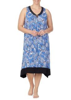 Ellen Tracy Plus Sleeveless Paisley Night Gown