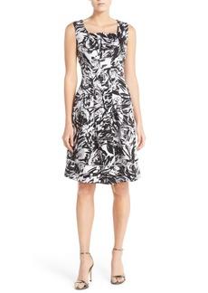 Ellen Tracy Print Stretch Cotton Fit & Flare Dress (Regular & Petite)