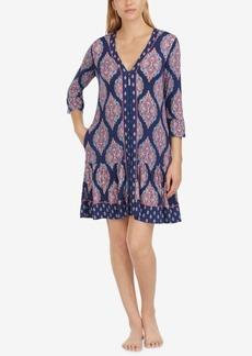 Ellen Tracy Printed Contrast-Trim Jersey Sleepshirt