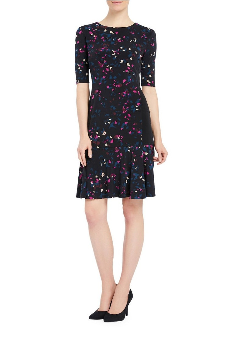 ELLEN TRACY Printed Roundneck Dress