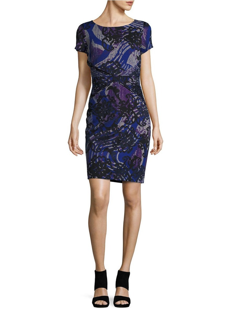 ELLEN TRACY Printed Short Sleeve Sheath Dress