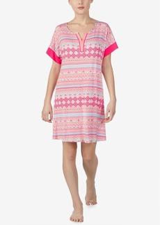 Ellen Tracy Printed Split-Neck Nightgown