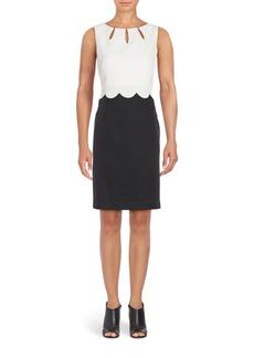 Ellen Tracy Scalloped-Overlay Sheath Dress