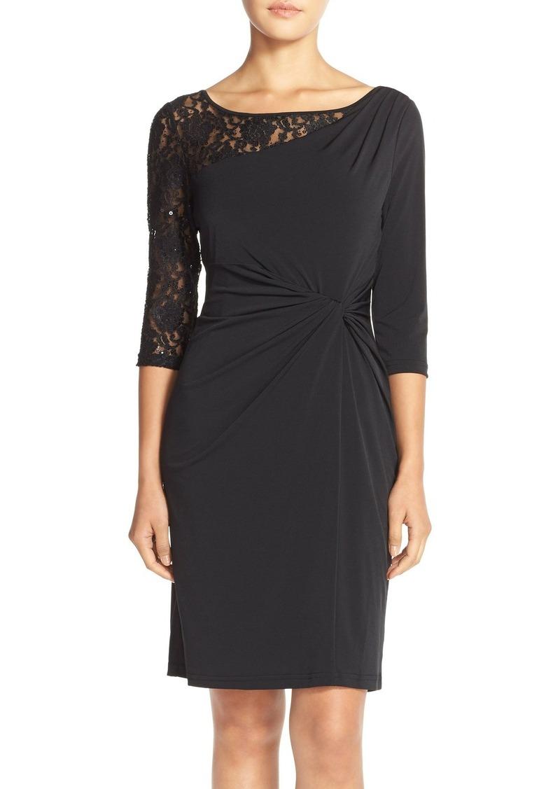 Ellen Tracy Sequin Lace & Jersey Sheath Dress (Regular & Petite)
