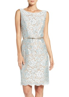 Ellen Tracy Sequin Lace Sheath Dress