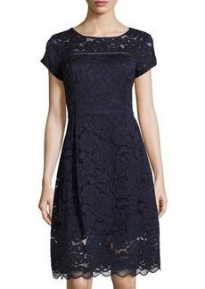 Ellen Tracy Short-Sleeve Lace Midi Dress