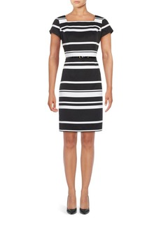 Ellen Tracy Short Sleeve Striped Sheath Dress