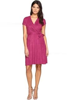 Ellen Tracy Short Sleeved Faux Suede Dress