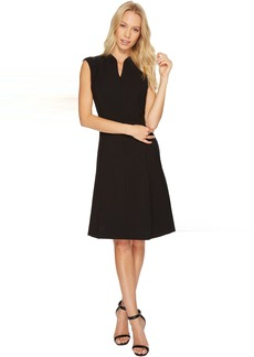 Solid Fit and Flare Dress with Front Zipper Detail