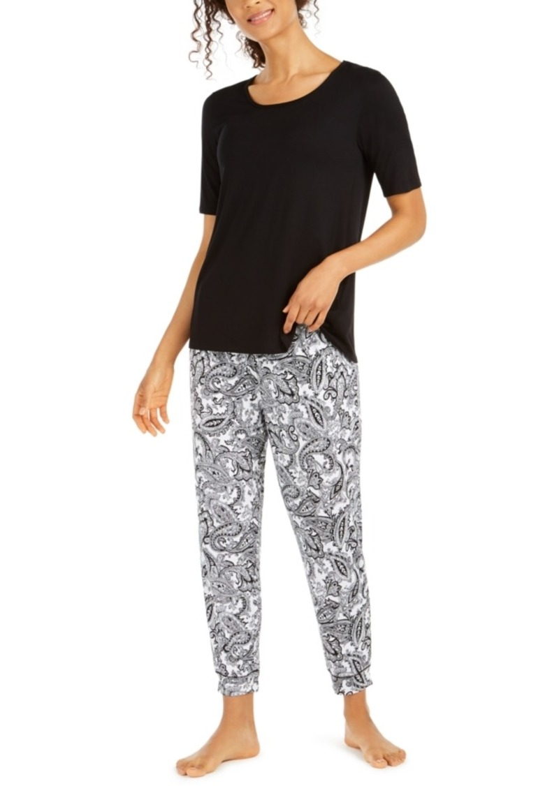 Ellen Tracy Solid T-Shirt & Printed Pajama Pants Set