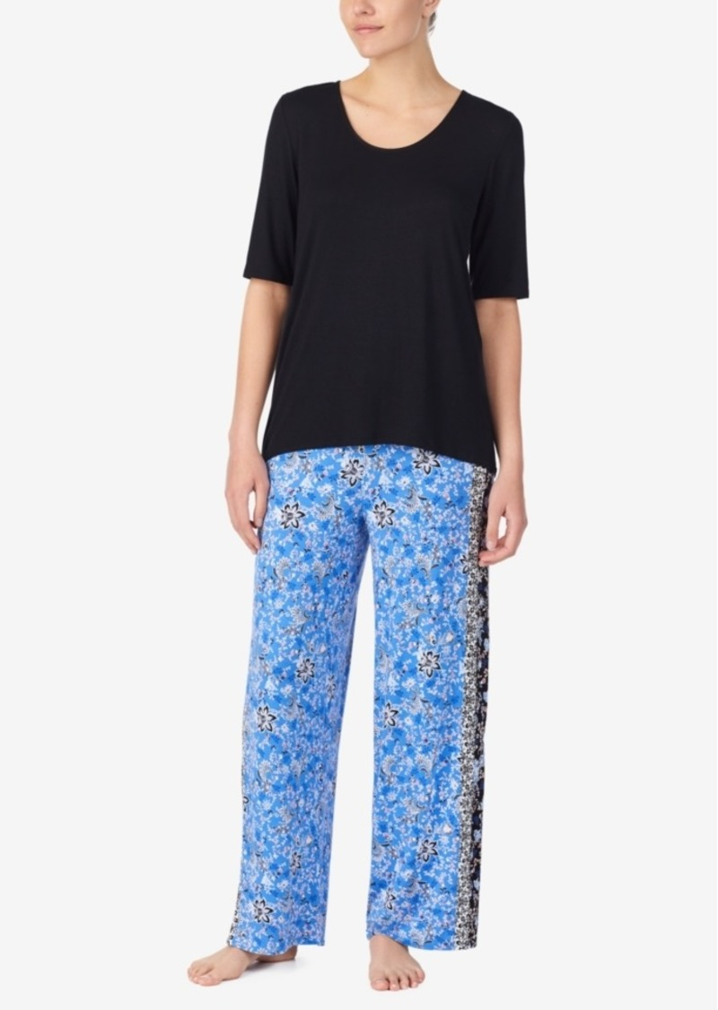 Ellen Tracy Solid Top and Boho Floral Pant Pajama Set, Online Only