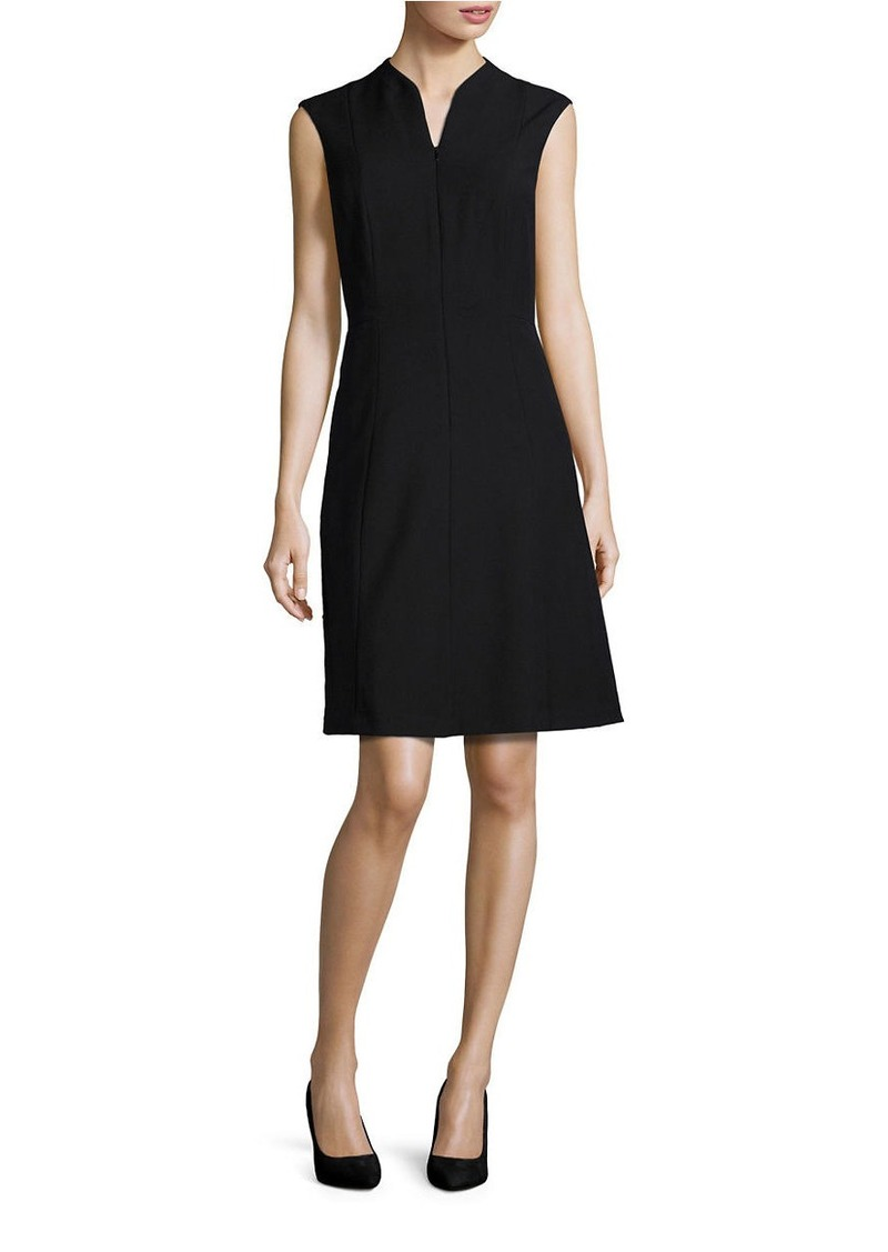 ELLEN TRACY Solid Zip-Front A-Line Dress