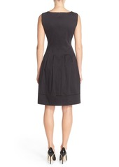 Ellen Tracy Square Neck Sateen Fit & Flare Dress (Regular & Petite)