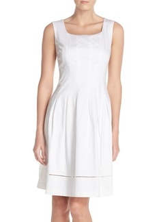 Ellen Tracy Square Neck Sateen Fit & Flare Dress (Regular & Petite)