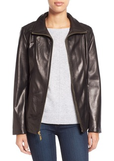 Ellen Tracy Stand Collar Leather Jacket