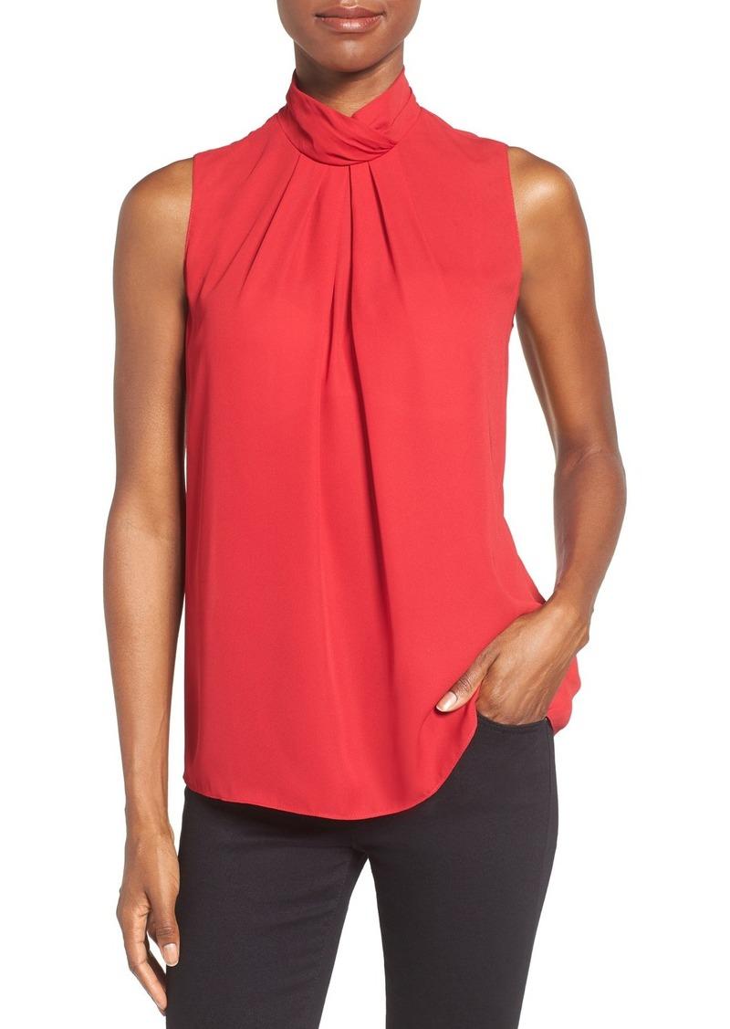 Ellen Tracy Stand Collar Pleat Front Shell (Regular & Petite)
