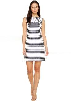 Ellen Tracy Striped Twill Dress with Neckline Embellishment