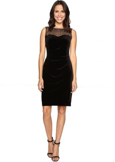 Ellen Tracy Velvet Dress w/ Neckline Embellishment