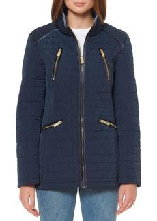 Ellen Tracy Velvet-Trimmed Quilted Jacket