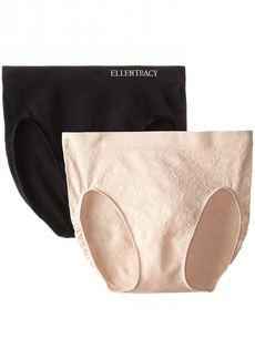 Ellen Tracy Women's 2 Pack Floral Jacquard Hicut Panty