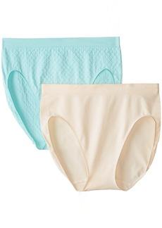 Ellen Tracy Women's 2 Pack Seamless Dot Jacquard Hi Cut Panty
