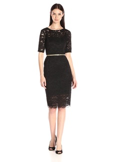 Ellen Tracy Women's 3/4 Sleeve Lace Sheath